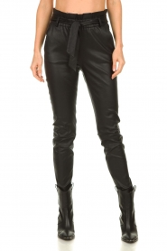 Dante 6 |  Leather paperbag pants Duran | black  | Picture 2