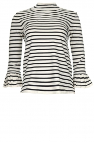 Set |  Striped sweater with trumpet sleeves Lies | black & white   | Picture 1