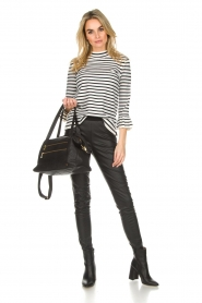 Set |  Striped sweater with trumpet sleeves Lies | black & white   | Picture 3