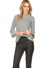 Set |  Striped sweater with trumpet sleeves Lies | black & white   | Picture 4