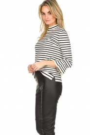 Set |  Striped sweater with trumpet sleeves Lies | black & white   | Picture 5