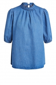 Set |  Denim blouse with puff sleeves Iris | blue  | Picture 1