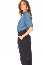 Set |  Denim blouse with puff sleeves Iris | blue  | Picture 6