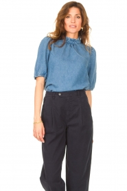 Set |  Denim blouse with puff sleeves Iris | blue  | Picture 2