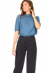 Set |  Denim blouse with puff sleeves Iris | blue  | Picture 5