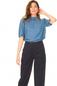 Set |  Denim blouse with puff sleeves Iris | blue  | Picture 4