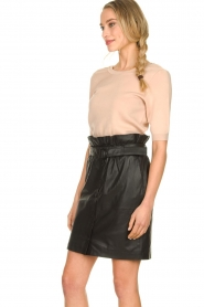 Dante 6 |  Leather paperbag skirt Couric | black  | Picture 4