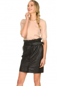 Dante 6 |  Leather paperbag skirt Couric | black  | Picture 2