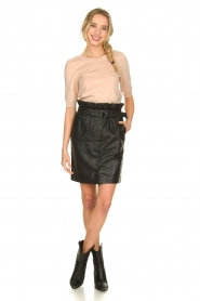 Dante 6 |  Leather paperbag skirt Couric | black  | Picture 3