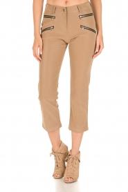 Patrizia Pepe | High waist broek Bibianne | bruin  | Afbeelding 2
