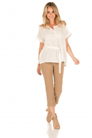 Patrizia Pepe | High waist broek Bibianne | bruin  | Afbeelding 3
