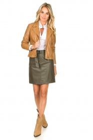 Kocca |  Faux leather belted skirt Brases | green  | Picture 3