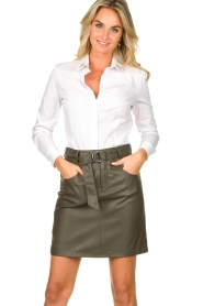 Kocca |  Faux leather belted skirt Brases | green  | Picture 2