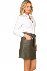 Kocca |  Faux leather belted skirt Brases | green  | Picture 5