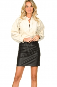 Kocca |  Faux leather belted skirt Brases | black  | Picture 5