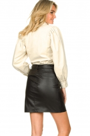 Kocca |  Faux leather belted skirt Brases | black  | Picture 7