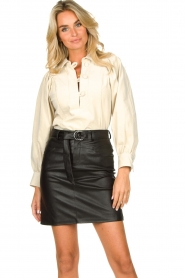 Kocca |  Faux leather belted skirt Brases | black  | Picture 2