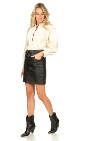 Kocca |  Faux leather belted skirt Brases | black  | Picture 3