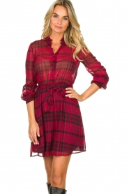 Kocca |  Checkered dress Rows | pink  | Picture 4