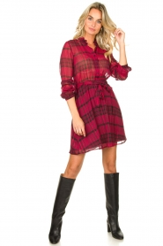 Kocca |  Checkered dress Rows | pink  | Picture 3