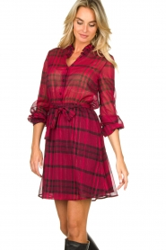 Kocca |  Checkered dress Rows | pink  | Picture 5