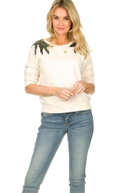 Patrizia Pepe |  Sweater with  sequins | white  | Picture 2