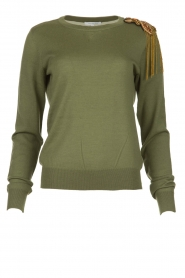 Patrizia Pepe |  Wool sweater with brooch Maglia | green  | Picture 1
