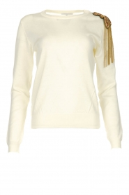 Patrizia Pepe |  Wool sweater with brooch Maglia | naturel  | Picture 1
