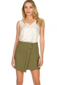 Patrizia Pepe |  Skirt with buttons Janna | green  | Picture 3
