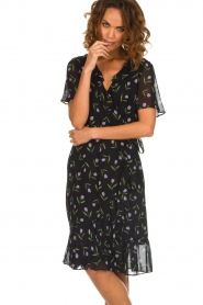 Set |  Dress with tulips print Kelsy | black  | Picture 4