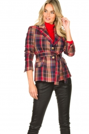 Kocca |  Checkered coat Torquet | blue  | Picture 4