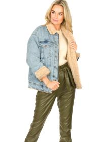 Set |  Denim jacket with faux fur | blue  | Picture 4