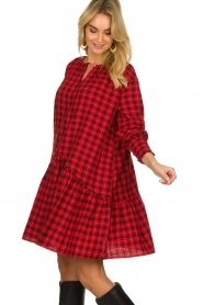 Munthe |  Checkered dress Jamilla | red  | Picture 4