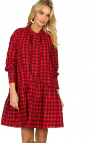Munthe |  Checkered dress Jamilla | red  | Picture 2
