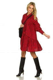 Munthe |  Checkered dress Jamilla | red  | Picture 3