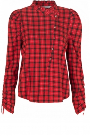 Munthe |  Checkered blouse Jaen | red  | Picture 1