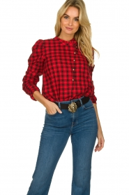 Munthe |  Checkered blouse Jaen | red  | Picture 2