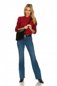 Munthe |  Checkered blouse Jaen | red  | Picture 3