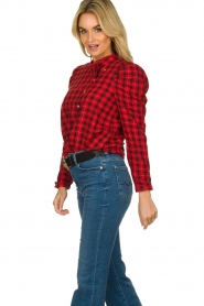 Munthe |  Checkered blouse Jaen | red  | Picture 4