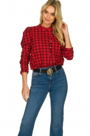 Munthe |  Checkered blouse Jaen | red  | Picture 5