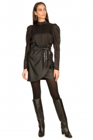 Silvian Heach |  Faux leather paperbag skirt Birthsean | black  | Picture 3