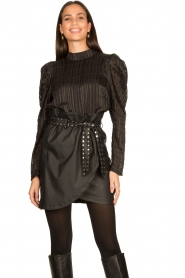 Silvian Heach |  Faux leather paperbag skirt Birthsean | black  | Picture 2