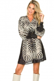 Silvian Heach |  Print dress Chavez | black  | Picture 2