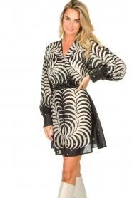 Silvian Heach |  Print dress Chavez | black  | Picture 4