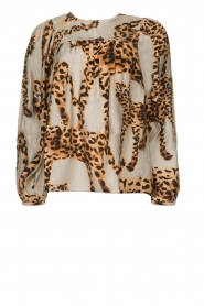 Munthe |  Blouse with leopard print Jet | animal print  | Picture 1