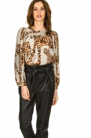 Munthe |  Blouse with leopard print Jet | animal print  | Picture 5
