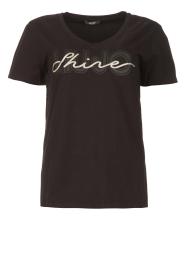 Liu Jo Sport |  Cotton T-shirt with logo Shine | black  | Picture 1