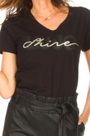 Liu Jo Sport |  Cotton T-shirt with logo Shine | black  | Picture 7