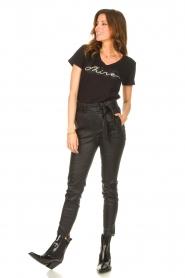 Liu Jo Sport |  Cotton T-shirt with logo Shine | black  | Picture 3