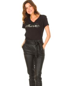 Liu Jo Sport |  Cotton T-shirt with logo Shine | black  | Picture 4